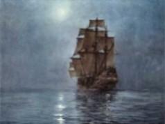 Ship on a moonlit sea